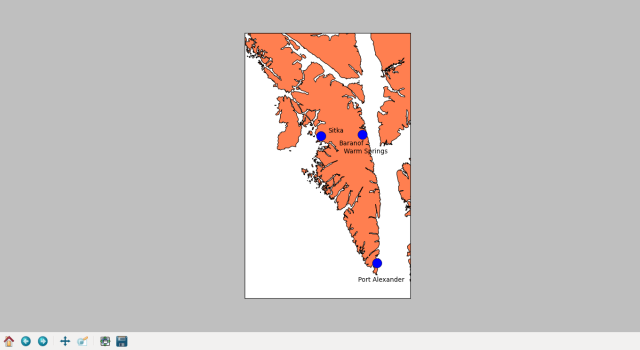 Baranof Island, with each community's label placed more appropriately on the map.
