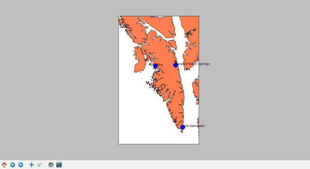 Baranof Island, with the communities labeled.