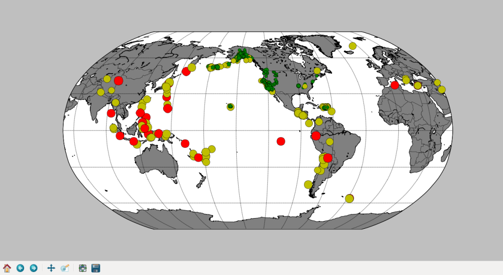 Worldwide earthquakes, with magnitudes represented by both color and size.