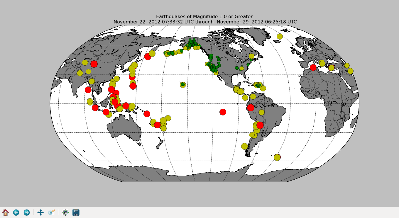 Mapping global earthquake activity a matplotlib basemap tutorial a map of the world most recent earthquakes of magnitude 10 or greater gumiabroncs Choice Image