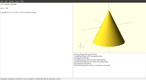 Setting one radius to zero makes a perfect cone.