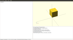 A simple cube in openSCAD.