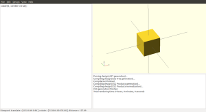 A simple cube in openSCAD, centered on the coordinate system.