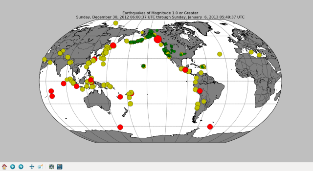 All the world's earthquakes in the last 7 days.  The quake we felt is the large red dot on the eartern Gulf of Alaska.