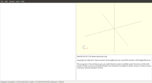 An empty openSCAD window, with axes shown.