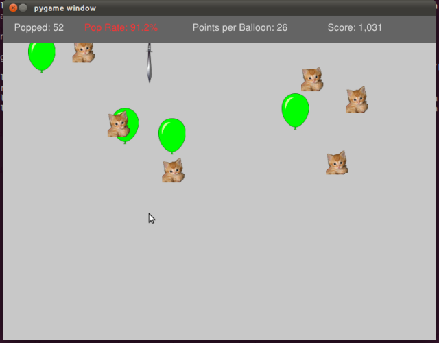 One kitten is released for every balloon, but they don't affect game play at this point.